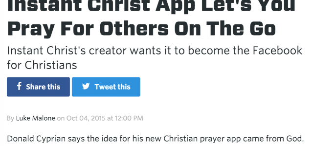 Instant Christ featured in Vocativ